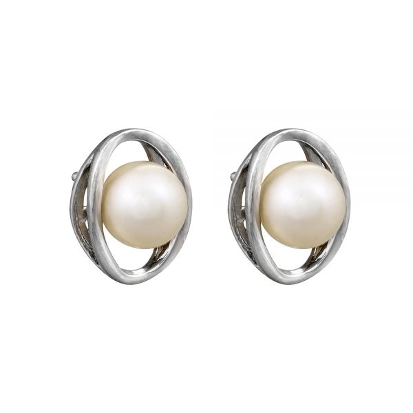 Pearl Sterling Silver Oval Stud