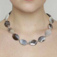Botswana Agate Faceted Flat Oval Sterling Silver Necklace