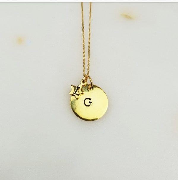 Initial Hand-Stamped Disc with Star